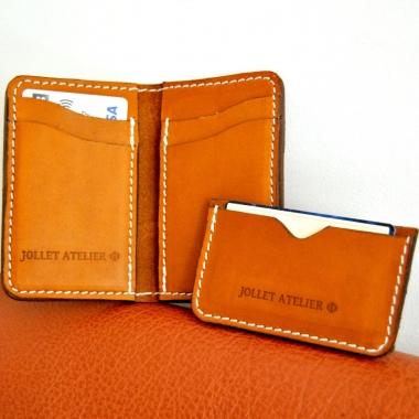 Porte cartes double cuir Maroquinerie Jollet Atelier 2